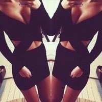 2014 New fashional winter dresses A-Line Long sleeve V-Neck Black Lace Sexy & Club long sleeve dress PTM1090