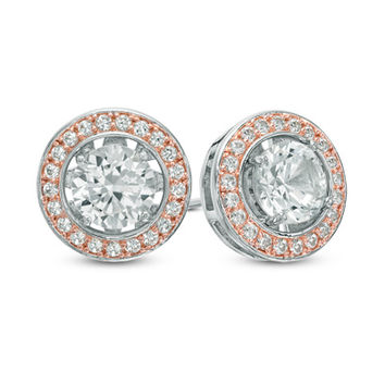 5.0mm Lab-Created White Sapphire Frame Stud Earrings in Sterling Silver with 18K Rose Gold Plate