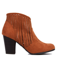 Perforated Rust Suede Ankle Booties