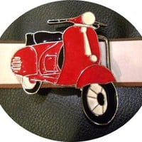 red vespa belt buckle from G2P leather