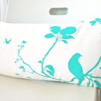 Mint Green Print on Off white Flying By Rectangle Pillow