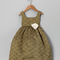 Dimples Olive Dupioni Silk Dress - Infant, Toddler & Girls