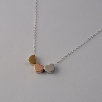 Three Block Heart Charm Necklace in Silver, Rose Gold, and Gold on Sterling Silver Chain
