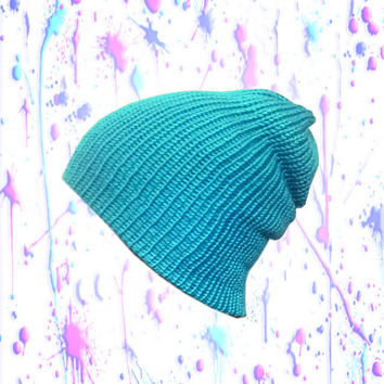 Neon Blue Beanie - knit, semi slouchy, snug fit - double layered - Womens, teens, mens accessories - available in additional colors