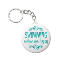 Swimming Makes Me Happy Keychain from Zazzle.com