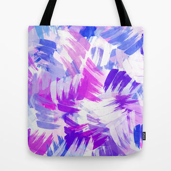 Abstract Purple Paint Pattern Tote Bag by Christina Rollo