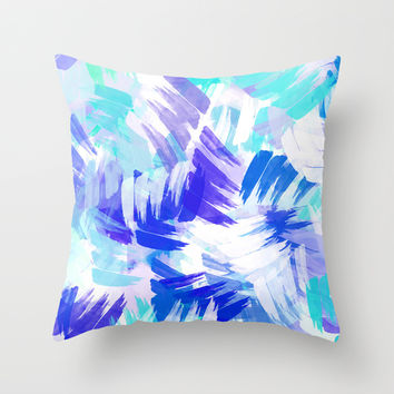 Abstract Blue Paint Pattern Throw Pillow by Christina Rollo