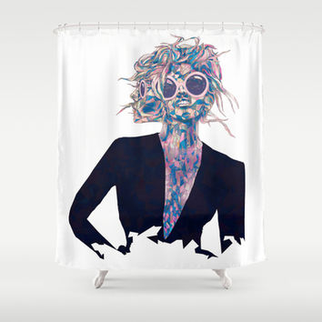 Pastel Light Four Eyes Shower Curtain by Ben Geiger