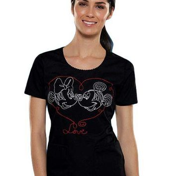 Buy Tooniforms Women Minnie In Love Round Neck Scrub Top for $22.45