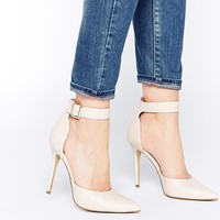 London Rebel Stakes Ankle Strap Court Shoes