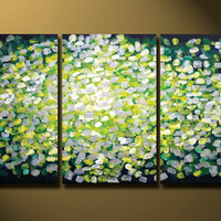 Large Green Yellow Abstract Painting HUGE Impasto Painting Modern Abstract Art White Color Sunshine Office decor Large Art 48x24