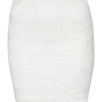 Curved Hem Lace Skirt, NLY One