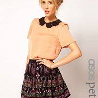 ASOS PETITE T-Shirt With Contrast Crochet Collar at asos.com