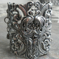 Extra Wide Silver Filigree Peacock Cuff Fashion by Serrelynda