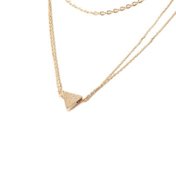 Layered Triangle-Charm Necklace