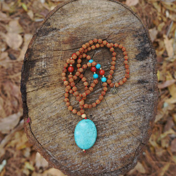 Hand Knotted 108 Japa Mala Yoga Prayer Necklace with Genuine Turquoise and Red Coral for Strength, Protection, Energy, and Balance