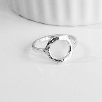 Eternity Circle Silver Ring 13g Thick Hammered - Trendy Silver Ring - Simple Handmade Jewelry