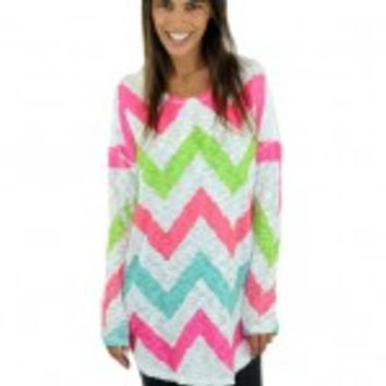 Pink And White Chevron Top