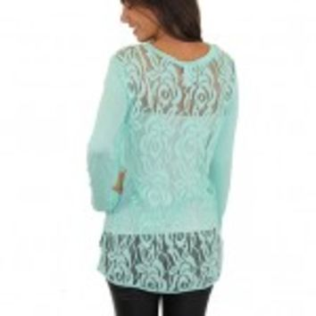 Mint Top With Lace Back