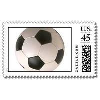 soccer ball postage stamps from Zazzle.com
