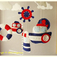 Hanging Nursery Baby Mobile Ocean Mariner theme by hingmade