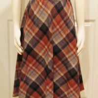 Plaid Skirt Tartan Skirt Winter Skirt Brown Skirt Hippie Skirt Earthy Skirt Bohemian Skirt 70s Skirt Vintage Clothing Vintage Skirt Size 6