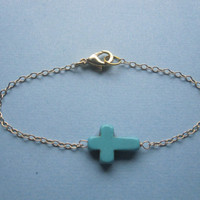 Turquoise Sideways Cross Bracelet available in gold and silver