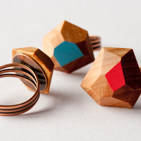 Faceted Wooden Ring