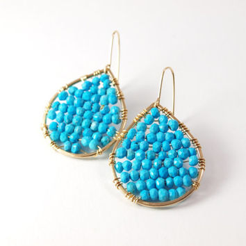 Turquoise Pear Gold Earring Set