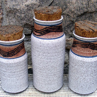 Vintage Stoneware Canister Set Ceramic Jars by GSArcheologist