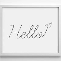 Hello Paper Airplane, Typography, Minimialistic, Simplistic Home, Kitchen, Bathroom, Nursery Print, 8 x 10 Giclee Art Print Buy 2 Get 1 FREE