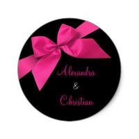 Pink Ribbon Wedding Invitation Announcement RSVP Stickers from Zazzle.com