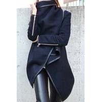Wholesale Long Sleeves Solid Color Asymmetric Stylish Wool Coat For Women (CADETBLUE,2XL), Jackets & Coats - Rosewholesale.com