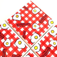 Bacon Eggs Coasters, Ceramic Tiles, Breakfast, Checkered Table Cloth, Over Easy, Table Drink Set