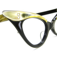 Vintage 50s Black Cat Eye Eyeglasses Frame 42mm Yellow pearl