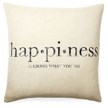 """""""Happiness"""" 20x20 Pillow, White, Decorative Pillows"""