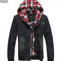 Men Korea Thick Keep Warm Zipper Slim Black Cotton Coat M/L/XL/XXL@SJ55873b - Men's Clothing
