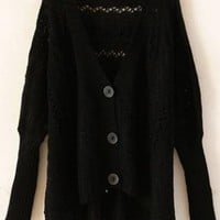 Asymmetric V Neck Black Cardigan  S005600