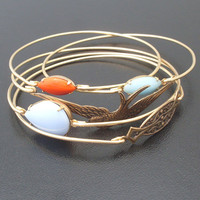 Free as a Bird Stacking Bangle Bracelet Set, Gold, Blue, Coral, Bangle Stack, Bangle Set, Free Bird, Bracelet Stack, Fly High Freebird