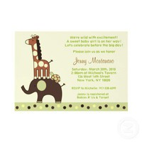 Neutral Elephant Giraffe Baby Shower Invitations from Zazzle.com