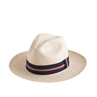 J.Crew Mens Paulmann Panama Hat With Striped Band