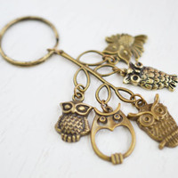 Owl Charm Keychain Keyring, Cluster Charm, Antique Brass, Key Ring Owl Charms, Leaf and Owl, Tree Brass Owl accessory, Bird Charm Keyring