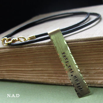 Roman Numeral Date Necklace. Personalized Leather Pendant for Men. Custom Id Tag