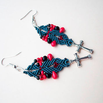 Micro macrame earrings - Deep Peacock Blue Red Black Boho Cross Unique