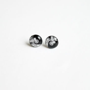 10 mm small studs, small stud earrings, tiny studs, black stud earrings, black studs,  black and white studs,, swirly