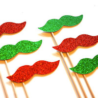 Holiday Photo Props  - Set of 6 - Red and Green Glitter Mustaches - Christmas Props - Photo Booth Props