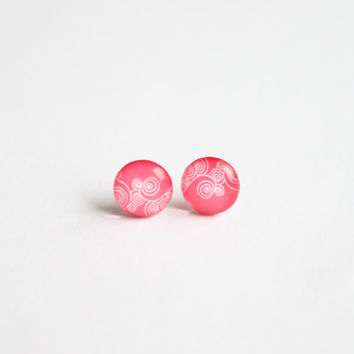10 mm small studs, small stud earrings, tiny studs, pastel pink stud earrings, soft pink studs,  pink, swirly, geometric