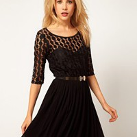 ASOS Skater Dress In Spot Lace & Mesh Skirt at asos.com