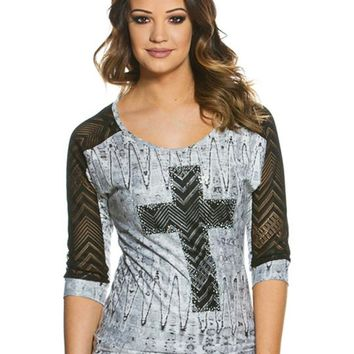 Lace Cross Graphic Tee