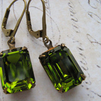 Estate Earrings, Vintage Olivine Green Rhinestone Earrings, Olive Rhinestone Earrings, Antiqued Brass Lever Back Earrings